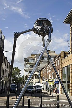 Martian Beeldhouwwerk van Woking Redactionele Stock Foto