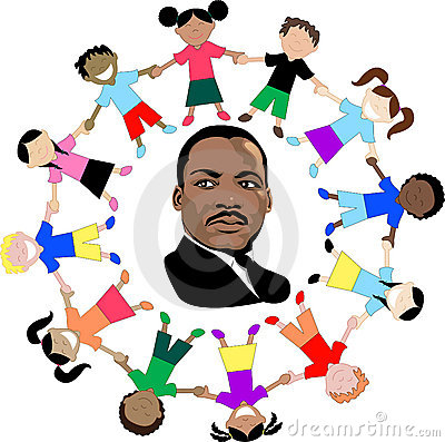 Martin Luther King with kids Stock Images - Image: 12793794