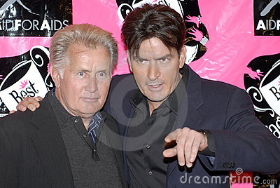 Martin Sheen and Charlie Sheen appearing on the re Editorial Stock Image