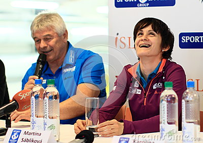 Martina Sablikova with her coach Editorial Photo
