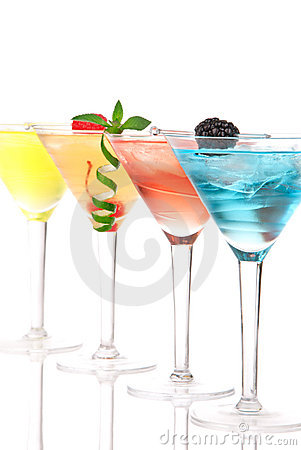 Free Martini Alcohol Cocktails In Row Blue Royalty Free Stock Image - 20324286