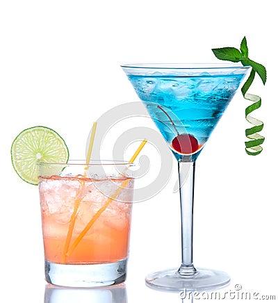 Free Martini Cocktail Blue Hawaiian And Yellow Margarita Royalty Free Stock Photos - 39505128