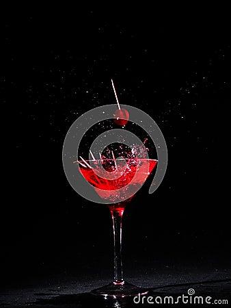 Martini glass with cherries