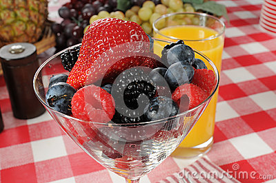 Martini glass full of fresh berries