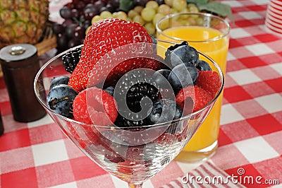 Martini glass full of fresh berries