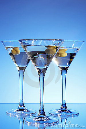 Martini glass with olive inside