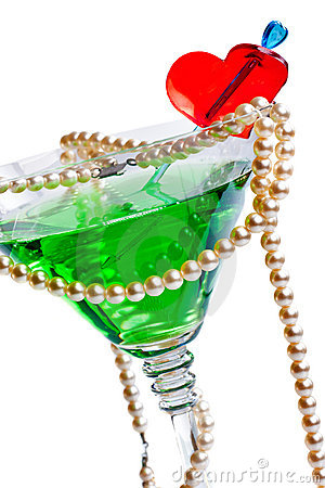 Martini glass with pearl beads