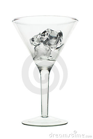 Martini glass silhouette with ice cubes