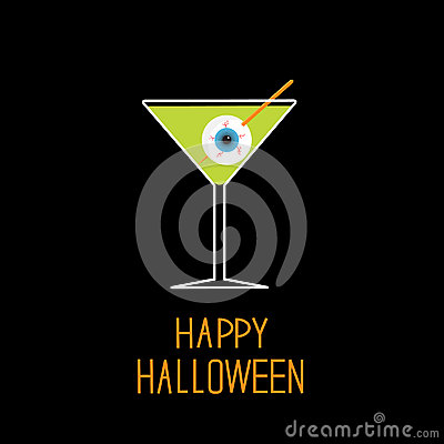 Free Martini Glass With Green Cocktail And Eyeball. Hal Royalty Free Stock Photos - 34104178