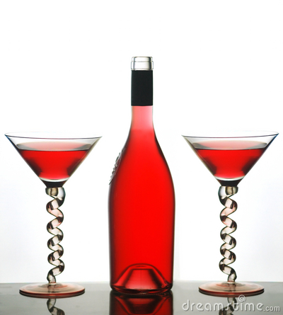 Martini glasses and red wine