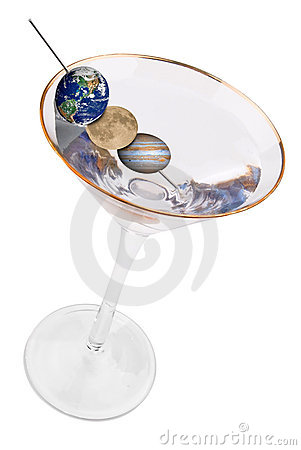 Martini with planet olives