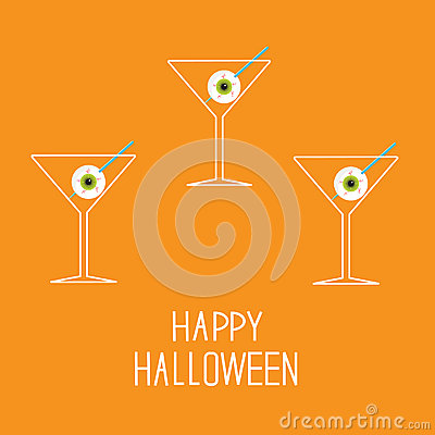 Martini set with eyeballs. Happy Halloween card.