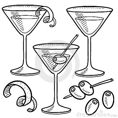 Free Martini Set Sketch Stock Photo - 24173320
