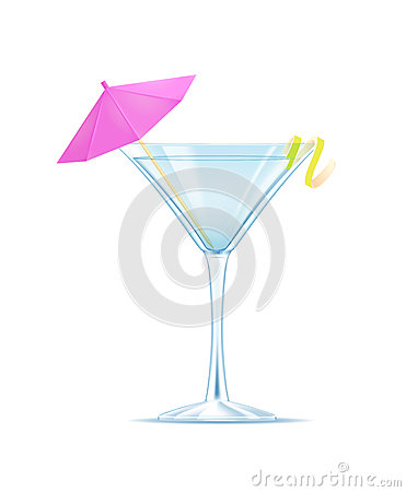 Martini with a slice of lemon