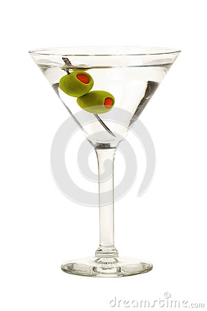 Free Martini With Olives Isolated Stock Photo - 25040910