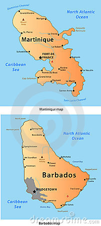Martinique & Barbados map