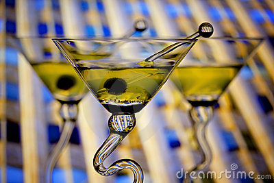 Martinis with downtown background