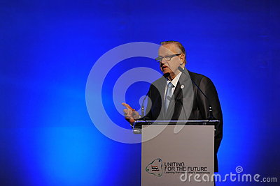 Martti Ahtisaari Speaks at Thai Reconciliation Forum Editorial Stock Photo