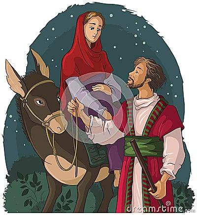 Free Mary And Joseph Travelling By Donkey To Bethlehem. Nativity Story Stock Photography - 62245242
