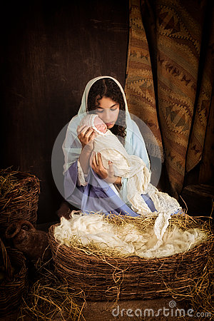 Mary And Jesus In Nativity Scene Stock Photo Image 61904247