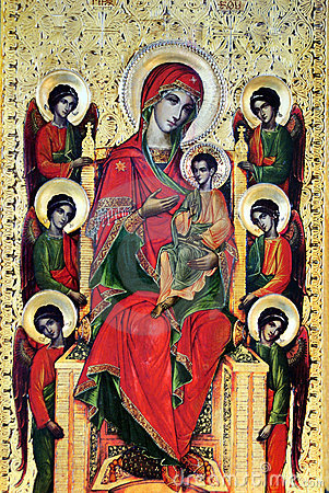 Mary with Jesus and six angels