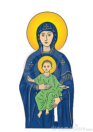 Mary and Jesus (vector)