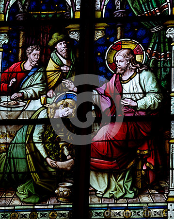 Free Mary Magdalene Washing The Feet Of Jesus (stained Glass) Stock Photos - 49633133