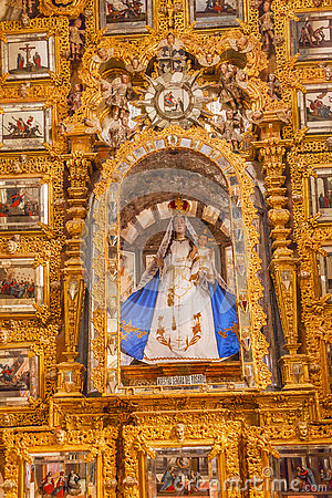 Free Mary Statue Golden Wall Sanctuary Of Jesus Atotonilco Mexico Royalty Free Stock Photos - 74826578