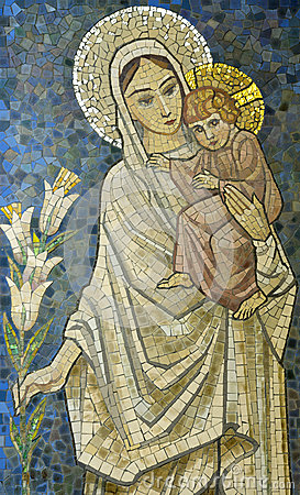 Free Mary With Baby Jesus On Her Arm Mosaic Stock Photos - 97422083