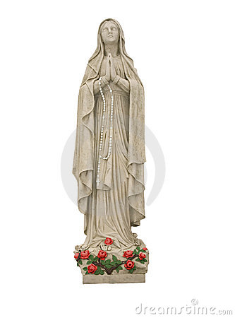 Free Mary With Roses And White Rosary Beads Stock Image - 85441