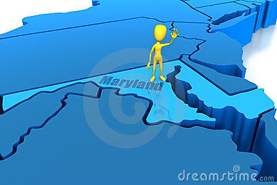 Maryland state outline with yellow stick figure