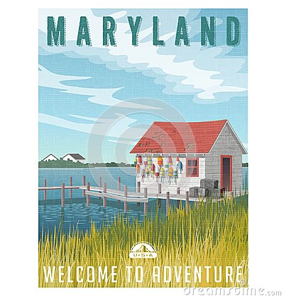 Free Maryland Travel Poster. Fishing Shack With Crab Traps And Buoys. Royalty Free Stock Photo - 109161045