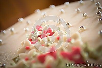 Marzipan wedding cake close up