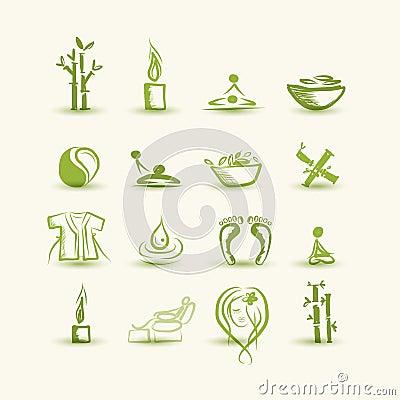 Masaż i zdrój, set ikony dla twój projekta