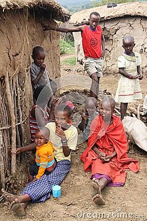 Masai children Editorial Photo