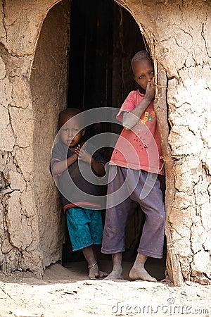 Masai children Editorial Image