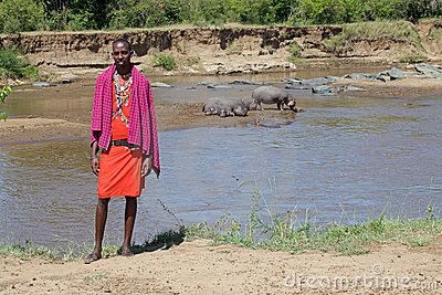 Masai man at the Mara river Editorial Photography