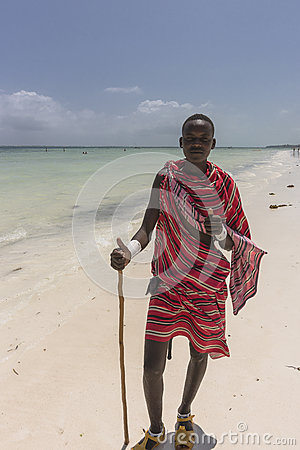 Free Masai Man On The Beach In Zanzibar Stock Images - 84370664