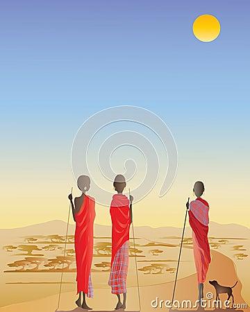Masai men on a dirt track