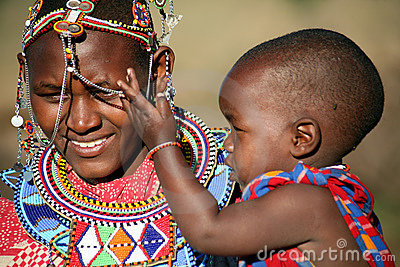 Masai Mother and Child (Kenya) Editorial Stock Image