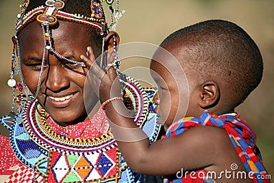 Masai Mother and Child (Kenya) Editorial Stock Image