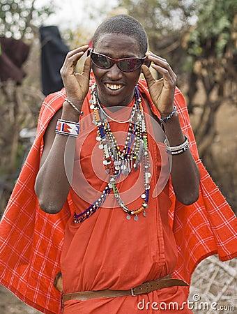 Masai with sun glasses Editorial Photo