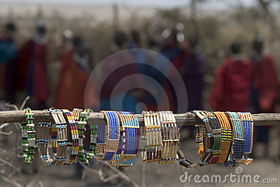 Masai tipycal souvenirs at a village