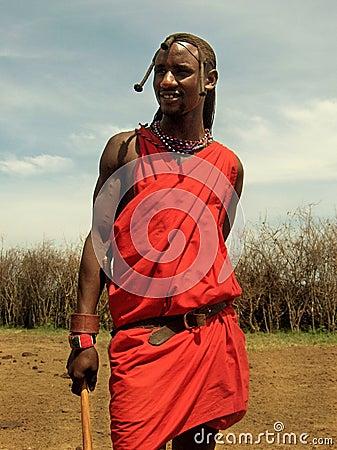 Masai tribesman in Masai-Mara Editorial Stock Image