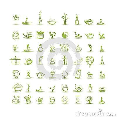 Masaje y balneario, sistema de los iconos para su diseño