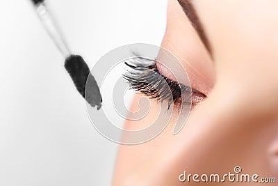 Mascara Brush. Makeup and long eyelashes.