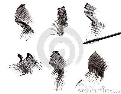 Mascara brush and strokes
