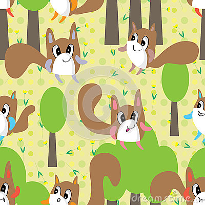 Free Mascot Animal Monster Flower Seamless Pattern Royalty Free Stock Image - 43009966