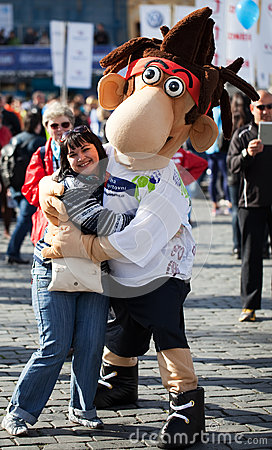 Mascot of International Prague Marathon 2012 Editorial Photography
