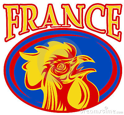 Mascot rooster cockerel france